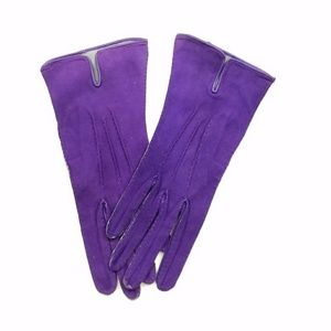 Vintage Purple Suede Leather Gloves Small 6 3/4